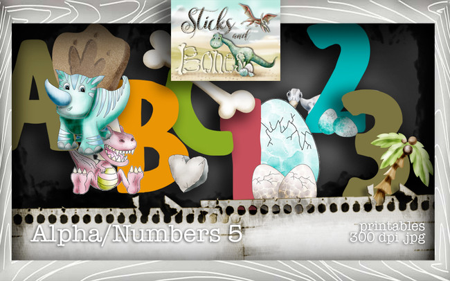 Sticks & Bones - Alphabet 5 - Digital Stamp CRAFT Download