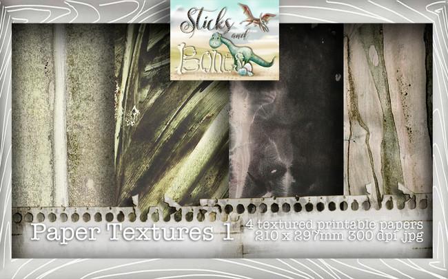 Sticks & Bones - Textured Papers 1 (4 papers A4) - Digital Stamp CRAFT Download