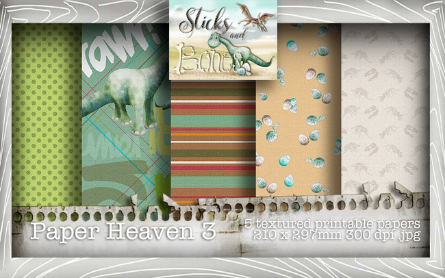 Sticks & Bones - Textured Dinosaur Papers 3 (5 papers A4) - Digital Stamp CRAFT Download