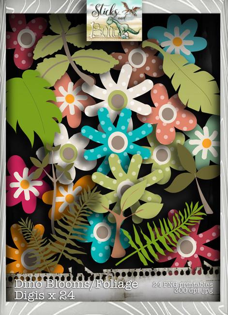 Sticks & Bones - Dinosaur Flower/Foliage Bundle - Digital Stamp CRAFT Download
