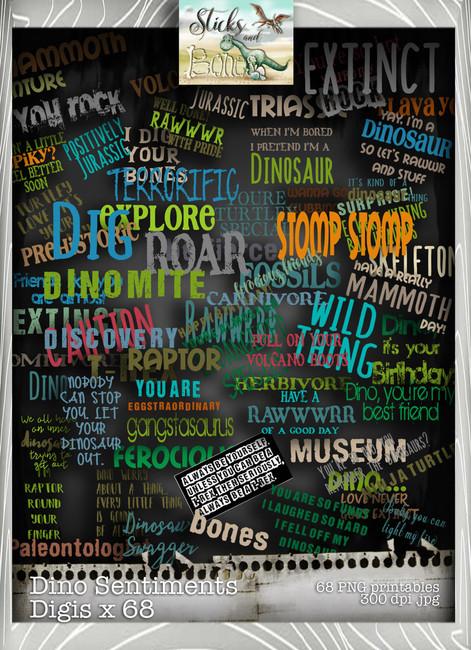 Sticks & Bones - Dinosaur Sentiments Bundle - Digital Stamp CRAFT Download
