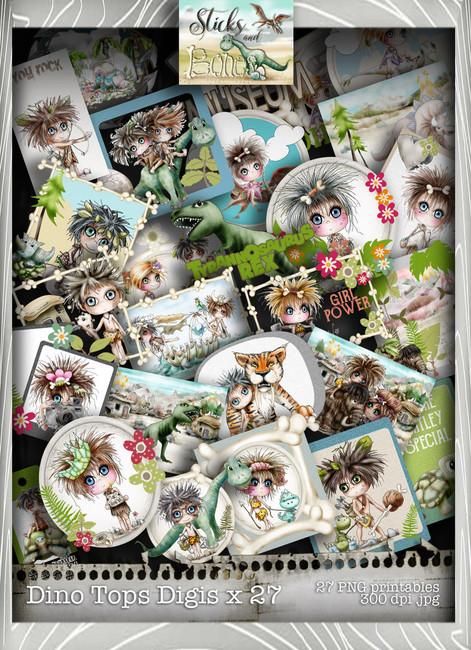 Sticks & Bones - Dinosaur Toppers Mega Bundle - Digital Stamp CRAFT Download