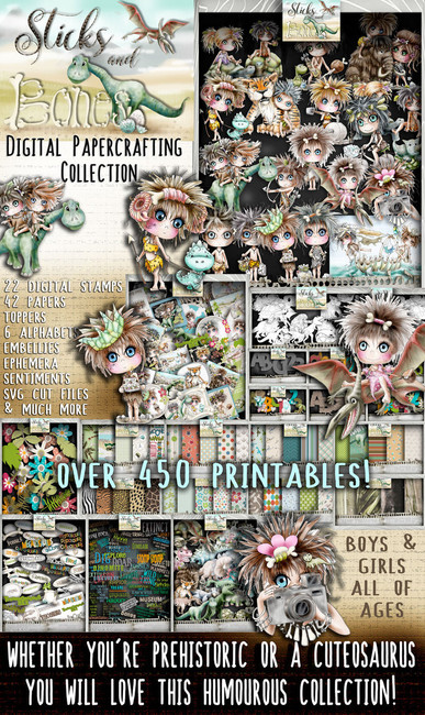Sticks & Bones Digital Papercrafting Collection - over 450 Printables suitable for boys and girls of any age. You need a sense of humour to use this collection - perfect for Cuteosaurus age or Prehistoric family!