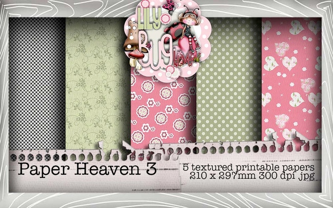 Lily Bug Love Paper Heaven 3 bundle kit (5 papers) - Digital Stamp CRAFT Download