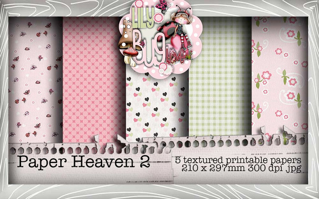 Lily Bug Love Paper Heaven 2 bundle kit (5 papers) - Digital Stamp CRAFT Download