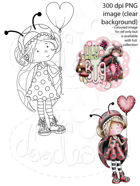Lily Bug Love Heart Balloon   - Digital Stamp CRAFT Download