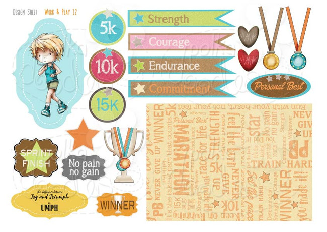 Work & Play 12 Design Sheet - Runner/Keep Fit/Workout - Digital Stamp CRAFT Download