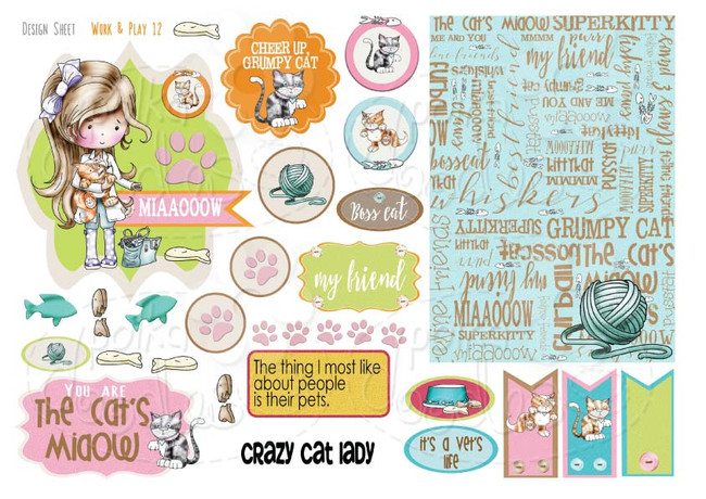 Work & Play 12 Design Sheet - Vet/Cat groomer - Digital Stamp CRAFT Download