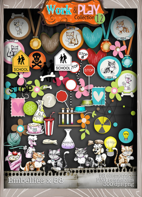 Work & Play 12 Embellies bundle kit (58 elements) - Digital Stamp CRAFT Download