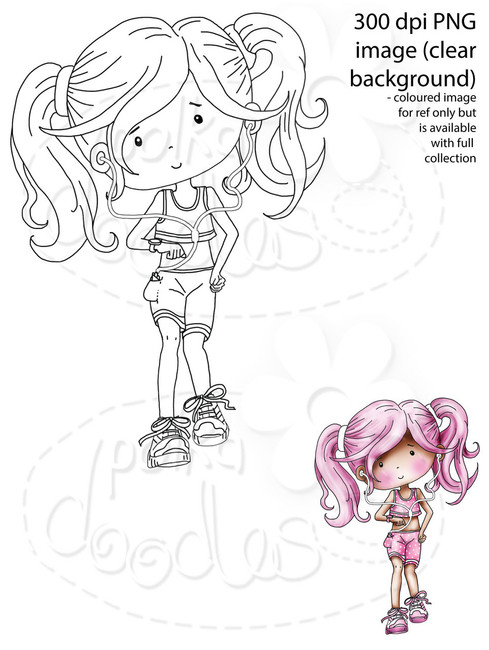Female Runner/Workout/Fitness/Race for Life Digital Stamp