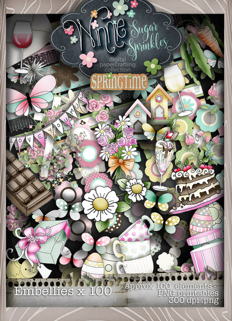 Winnie Sugar Sprinkles Embellies Bundle - Printable Crafting Digital Stamp Craft Scrapbooking Download
