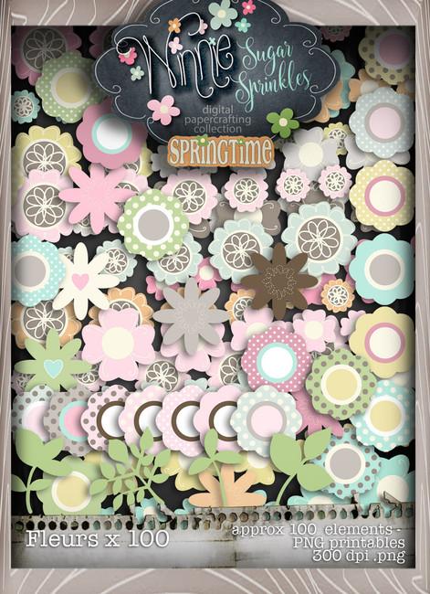 Winnie Sugar Sprinkles Blooms Bundle - Printable Crafting Digital Stamp Craft Scrapbooking Download