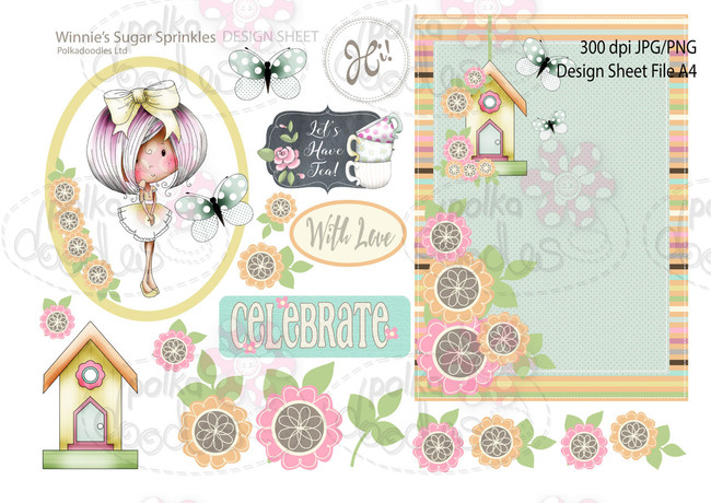 Winnie Sugar Sprinkles Springtime DESIGN SHEET 11 - Printable Crafting Digital Stamp Craft Scrapbooking Download