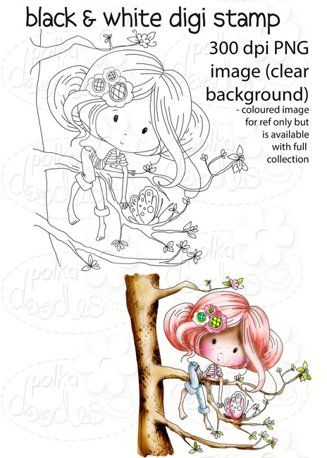 Treetop fun -Winnie Fruit Punch Printable Digital Craft Stamp Download, digiscrap