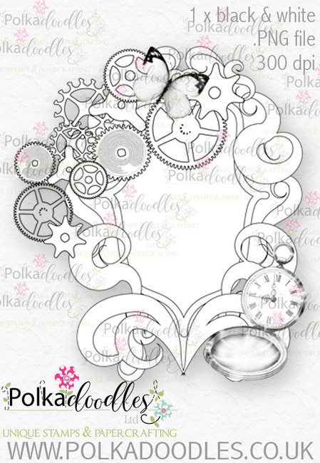 Winnie Wonderland Steampunk Mirror- Printable Digital stamp download
