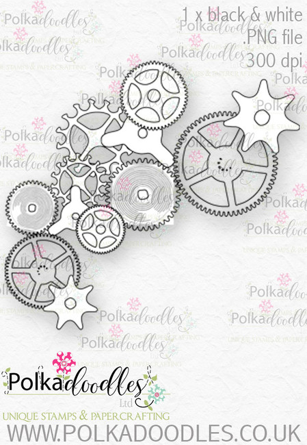 Winnie Wonderland Steampunk cogs and wheels - Printable Digital stamp download