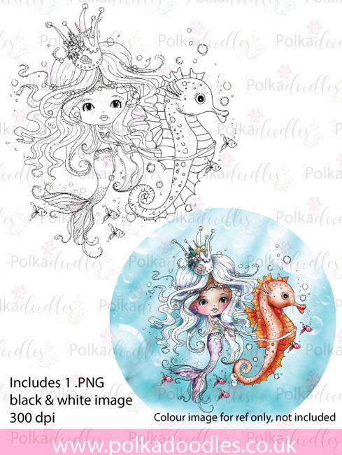 Meribelle Seahorse - digital craft stamp download