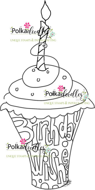 Birthday Wishes Cupcake Free - Digital Stamp Download