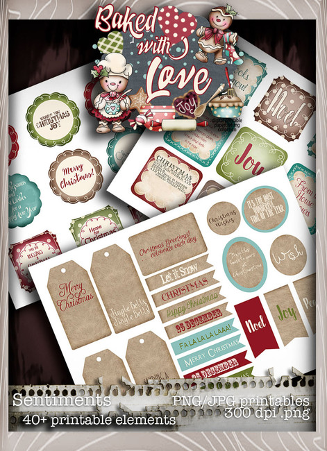 Baked With Love - Sentiments digital craft paper download