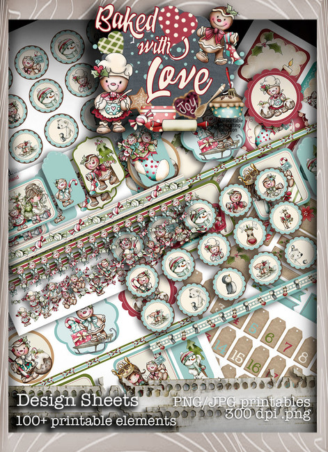 Baked With Love - Design Sheets digital craft paper download