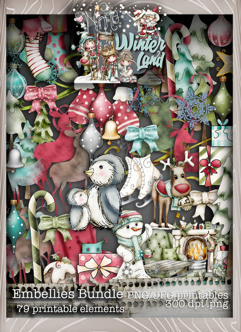 Winnie Winterland - Embellies digital craft papers download