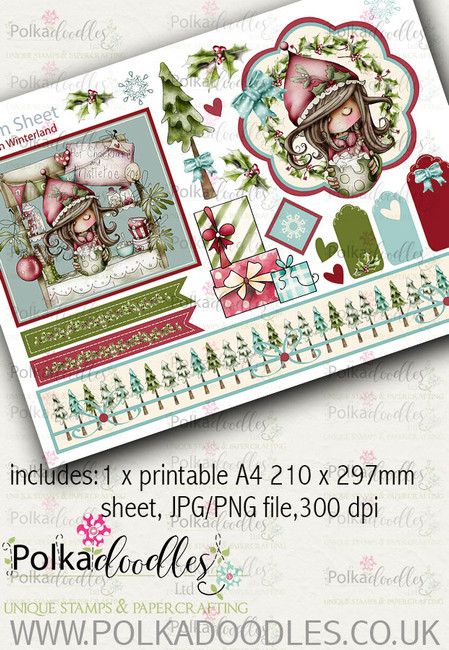 Winnie Winterland - Design Sheet 1 digital craft papers download