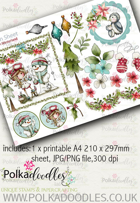 Winnie Winterland - Design Sheet 6 digital craft papers download