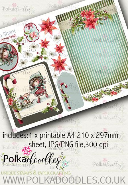 Winnie Winterland - Design Sheet 8 digital craft papers download