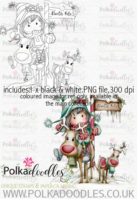 Winnie Winterland - North Pole digital craft stamp download