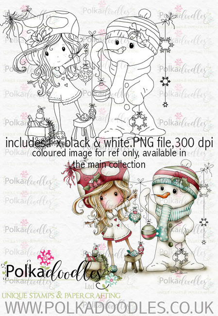 Winnie Winterland - Frosty the Snowman digital craft stamp download