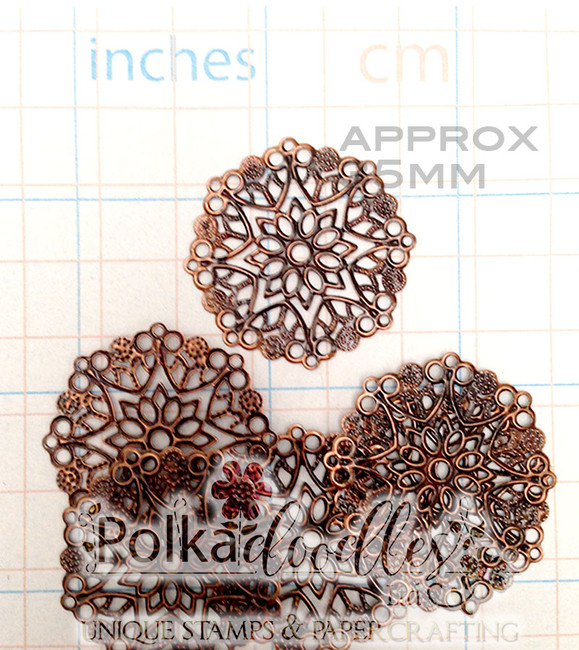 10 Copper Tone Filigree Flower Wrap Embellishments 35mm
