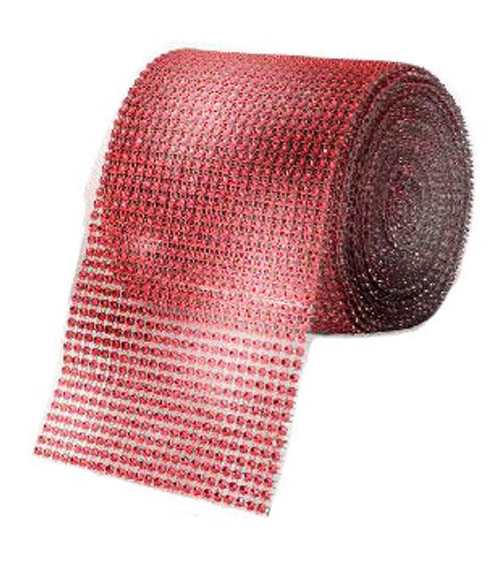 Sparkling Red Gem Diamond Mesh - 1m