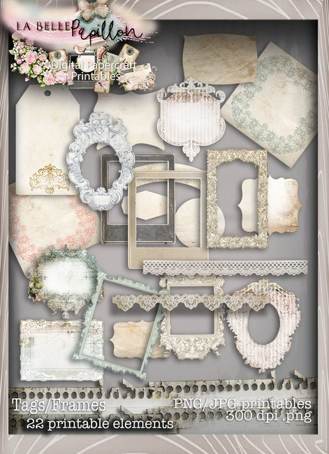 Belle Papillon - Vintage Printable Tags/Frames Download