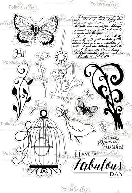 Belle Papillon A5 large Clear Stamp Set