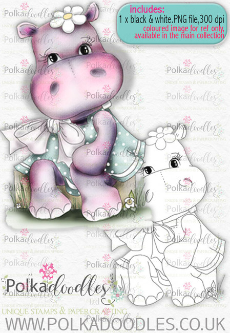Helga Hippo -Sitting Pretty - download digi stamp