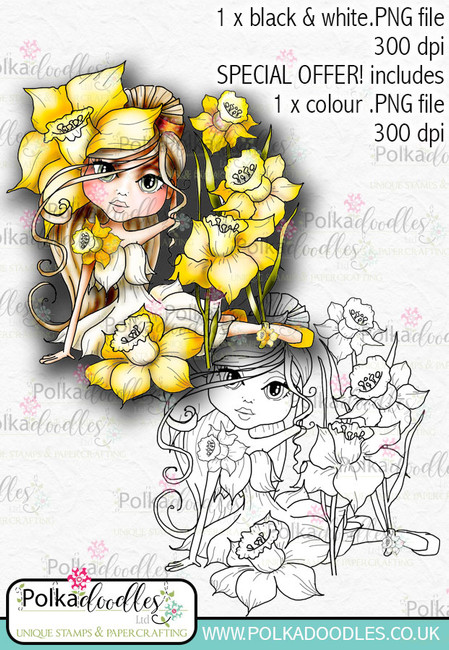 Daffodil, The Darling Buds - Digital Craft Digi Stamp DOWNLOAD