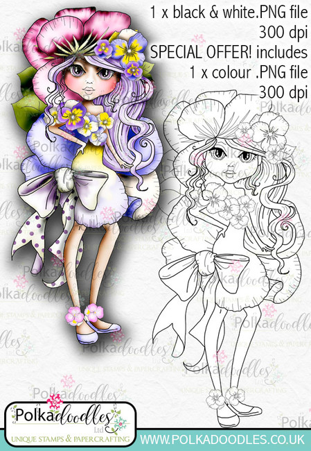 Pansy, The Darling Buds - Digital Craft Digi Stamp DOWNLOAD