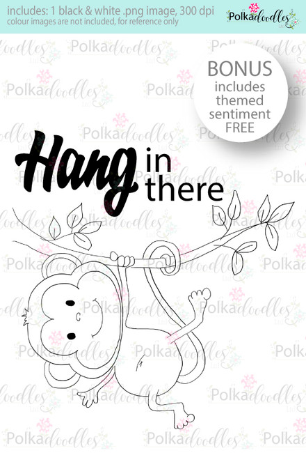 Hang in there little monkey...Craft Digital stamp download with FREE Sentiment