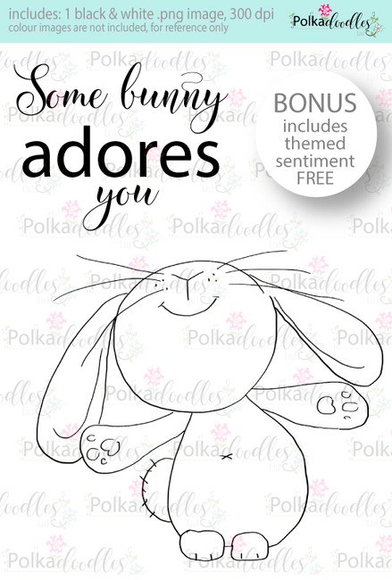 Some Bunny Adores You...Craft Digital stamp download with FREE Sentiment