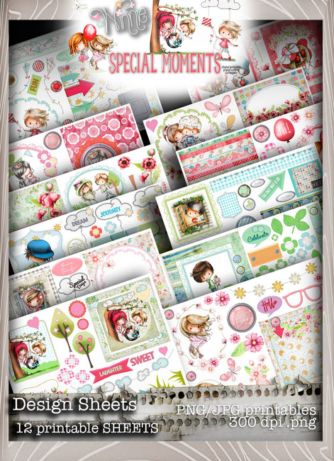 Design Sheets - Winnie Special Moments...Craft printable download digital stamps/digi scrap kit