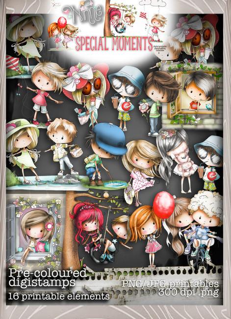 Pre-Coloured Digital Stamps - Winnie Special Moments...Craft printable download digital stamps/digi scrap kit