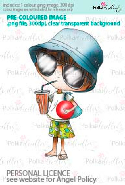 Boy drinking with a sun hat and a red beach ball coloured digital stamp/clipart- Winnie Special Moments...Craft printable download digital stamps/digi scrap kit