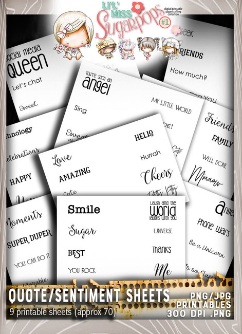 9 sheets of quotes/sentiments - Lil Miss Sugarpops Kit 1...Craft printable download digital stamps/digi scrap kit