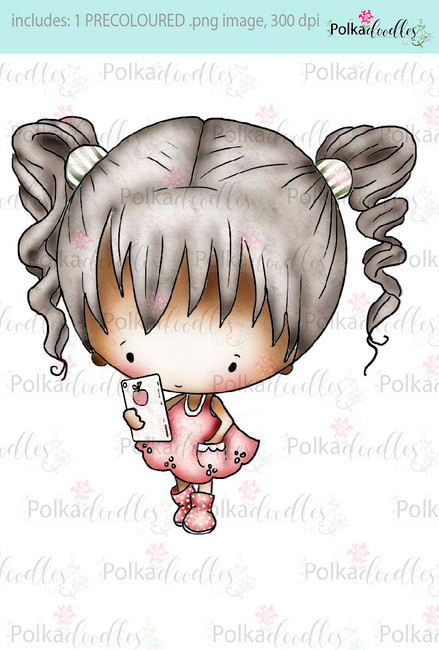 Lil Miss Tech, ipod, phone,tablet, PC, ipad - Sugarpops Kit 1...Craft printable download digital stamps/digi scrap kit