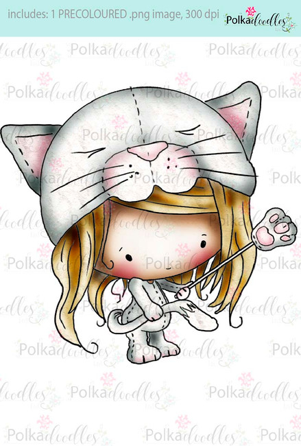 Lil Miss Kittycat - Sugarpops Kit 1...Craft printable download digital stamps/digi scrap kit