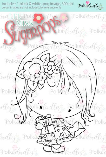 Party Dress/Gifts digi stamp - Lil Miss Sugarpops 3...Craft printable download digital stamps/digi scrap