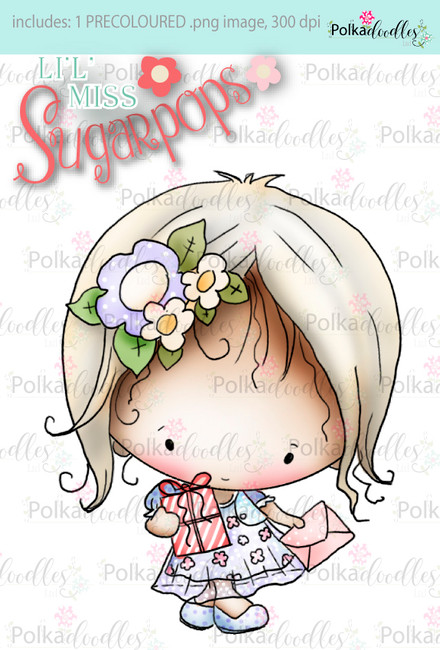Party Dress/Birthday Gift precoloured digi stamp - Lil Miss Sugarpops 3...Craft printable download digital stamps/digi scrap
