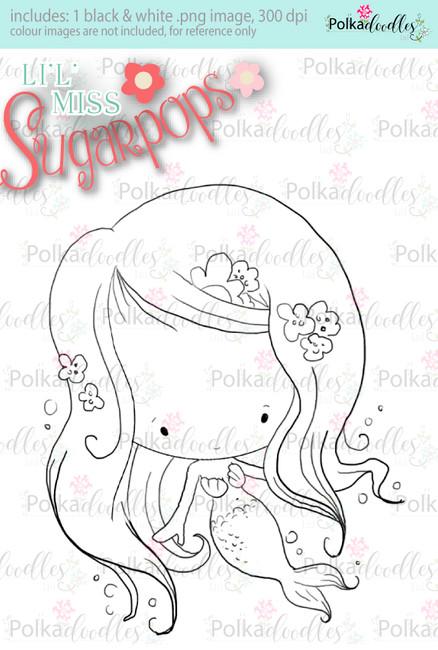 L'i'l Miss Mermaid digi stamp - Lil Miss Sugarpops 3...Craft printable download digital stamps/digi scrap