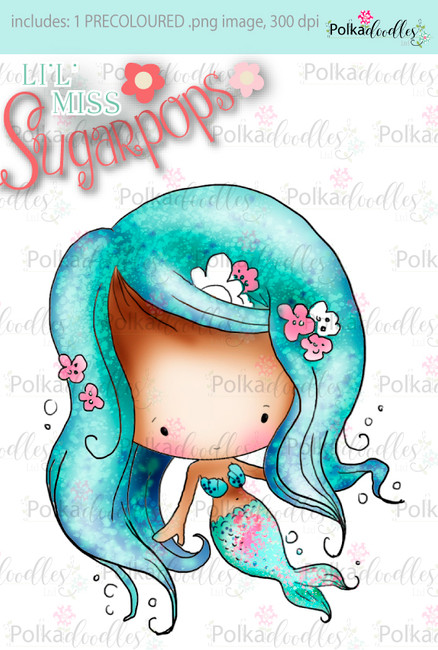 Lil Miss Mermaid precoloured digi stamp - Lil Miss Sugarpops 3...Craft printable download digital stamps/digi scrap