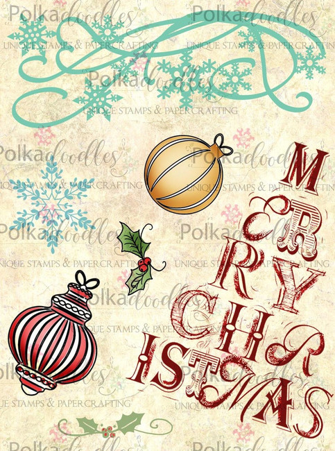 Christmas Snow Baubles -  Clear Stamp Set